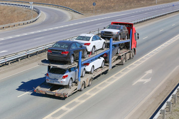 transportation of car on semi-trailer