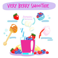 very berry smoothie with banana vector