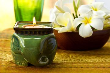 flower in wooden bowl