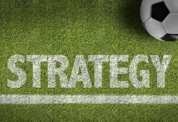 Soccer field with the text: Strategy