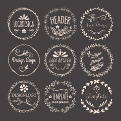 Hand drawing logo design with round floral elements