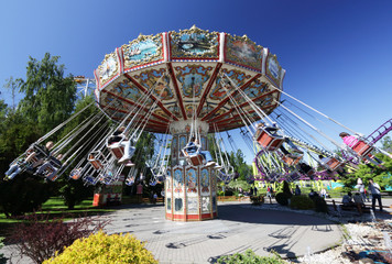 Ride the carousel. Saint-Petersburg.