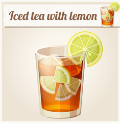 Glass of iced tea. Detailed Vector Icon