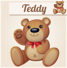 Teddy bear with red bow waves the paw. Cartoon vector