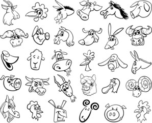 farm animals set coloring page