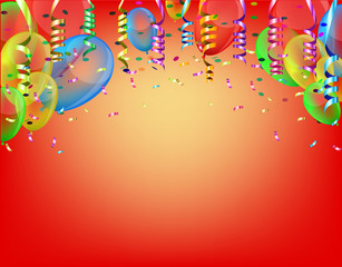 Celebratory yellow and orange background pattern with colored ribbons and confetti streamers, colorful balloons flying up. Vector illustrations