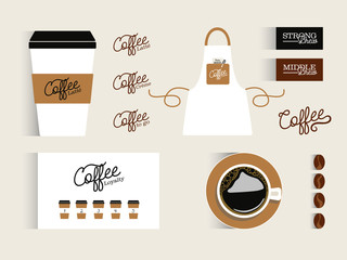 Mock up corporate identity for Coffee Shop. Vector Design.