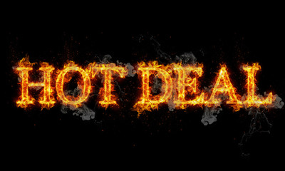 Hot deal burning word written text in flames