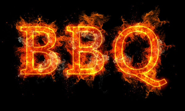 BBQ word written text in flames