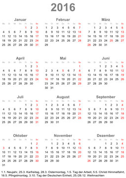 Kalender 2016 einfach mit gesetzlichen Feiertagen für Deutschland