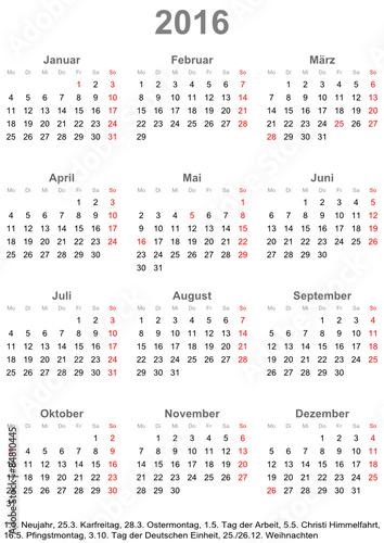 kalender 2016 einfach mit gesetzlichen feiertagen f r deutschland stockfotos und lizenzfreie. Black Bedroom Furniture Sets. Home Design Ideas