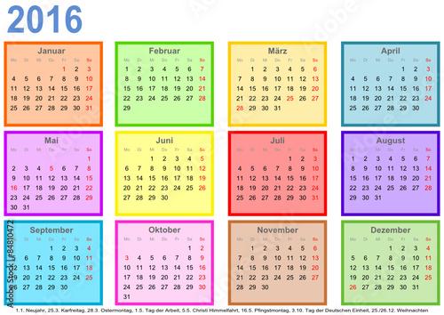 kalender 2016 mit bunten monatsfeldern und feiertagen f r deutschland stockfotos und. Black Bedroom Furniture Sets. Home Design Ideas