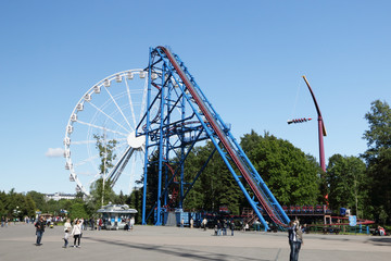 The Ferris wheel and high hill.