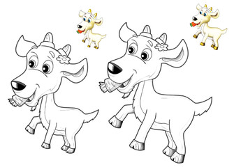 The happy cartoon goat - caricature - coloring page