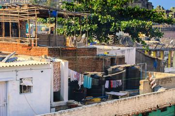 Close buildings in the village of Hampi, India