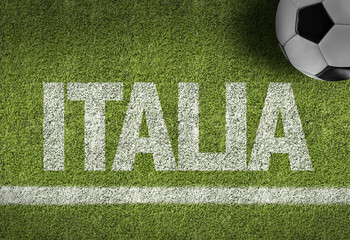 Soccer field with the text: Italy (in Italian)