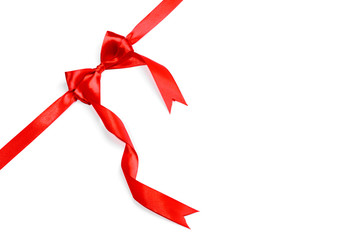 Red ribbons with bow