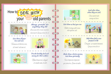 How to deal with old parents father and mother cartoon infographic vector