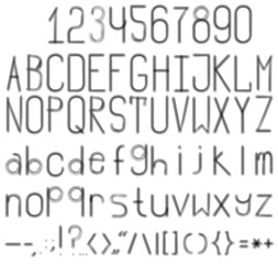 A blurred black-and-white font. Full set with numbers and punctuation.