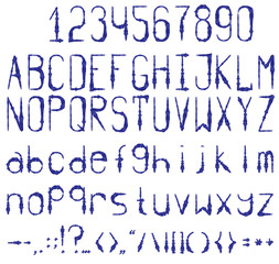 Blue ink print. Full set with numbers and punctuation. Watercolor.