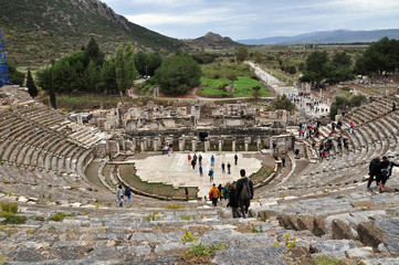 A view of the immense stadium in Ephesus. The view looks down on the stadium and the celebrated harbor street leading from it.