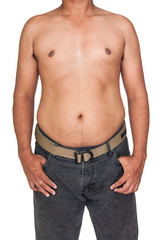 body of man Fat belly,Man with overweight abdomen