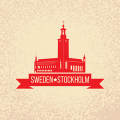 Stockholm Skyline with the symbol of Sweden