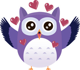 Cute vector purple owl falling in love with hearts