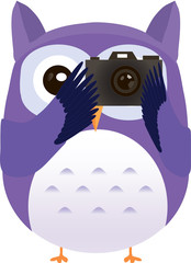 Cute vector purple owl makes photo with camera