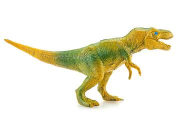 Tyrannosaurus dinosaur plastic figure toy model on white backgro