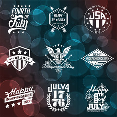 One Color Fourth of July Badges on Bokeh Background