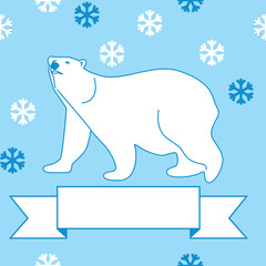 vector illustration of a polar bear and snowflakes