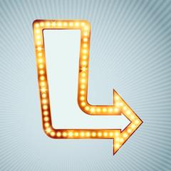 Bright light bulb pointing arrow sign