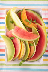 watermelon,green and cantaloupe melon