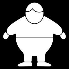 Icon: Übergewicht, Vektor, weiß auf schwarz, freigestellt