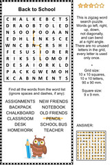 Back to scool themed word search puzzle. Answer included.