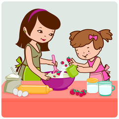 Mother and daughter cooking in the kitchen.