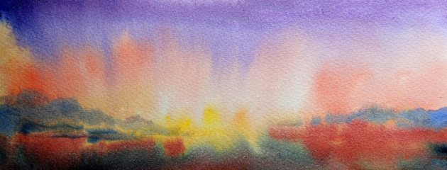 Watercolor painting landscape of sunset and mountain lake