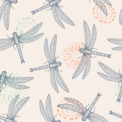 Vector colorful seamless pattern with dragonfly