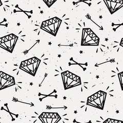 Vector seamless grunge pattern with vintage diamonds, bones, arrows and stars. Rock and roll style.