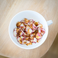 Homemade Radish Chips in a Cup