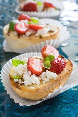 Bruschetta with Goat Cheese, Strawberries, Basil and Balsamic Vinegar