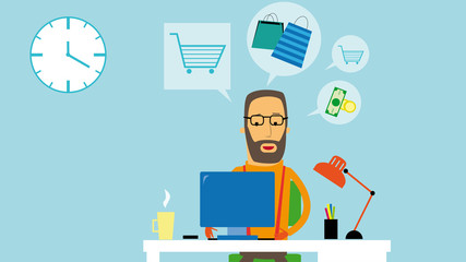 Flat design businessman buying on the internet. Mail order