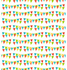 Seamless bright fun celebration festive buntings pattern isolate