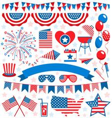 USA celebration flat national symbols set for independence day i