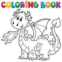 Coloring book with happy dragon