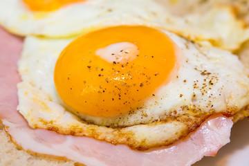 Tasty egg with ham