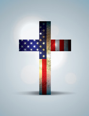 Christian Cross and American Flag Illustration