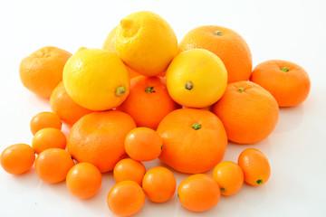 新鮮なオレンジと金柑