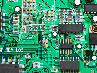 Electronic microcircuit taken closeup.